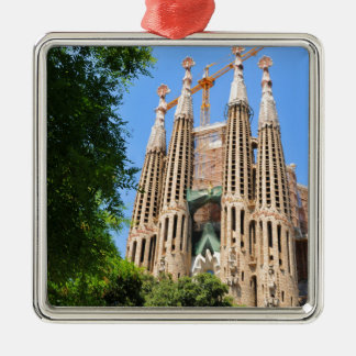 Sagrada Familia in Barcelona, Spain Silver-Colored Square Decoration