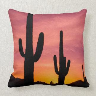Saguaro cactus at sunrise, Arizona Throw Pillow