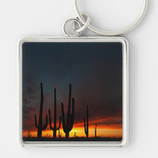Saguaro Cactus Sunset Keychain