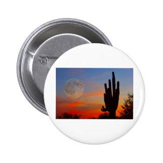 Saguaro Full Moon Sunset Pinback Button