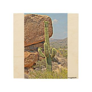 """Saguaro in the Boulders"" Wood Wall Art. Wood Wall Art"