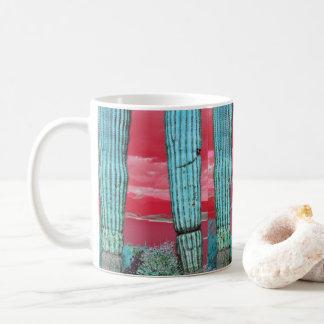 Saguaro Pillar in Red Sky & Turquoise Coffee Mug