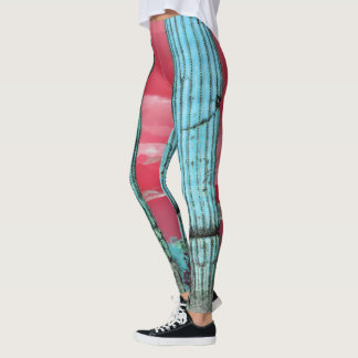 Saguaro Pillars Red & Turquoise Women's Leggings
