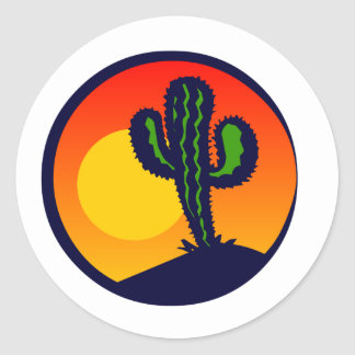 saguaro sunset classic round sticker