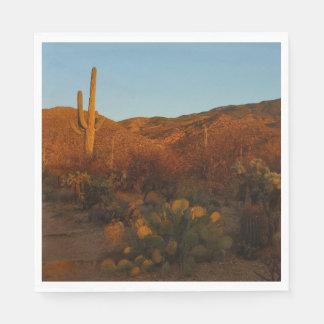 Saguaro Sunset I Arizona Desert Landscape Disposable Serviettes