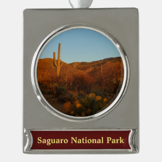 Saguaro Sunset I Arizona Desert Landscape Silver Plated Banner Ornament