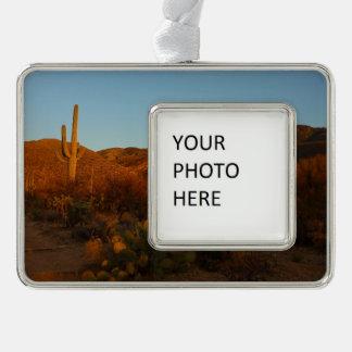 Saguaro Sunset I Arizona Desert Landscape Silver Plated Framed Ornament