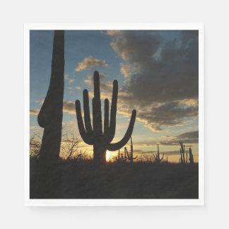 Saguaro Sunset II Arizona Desert Landscape Disposable Serviettes