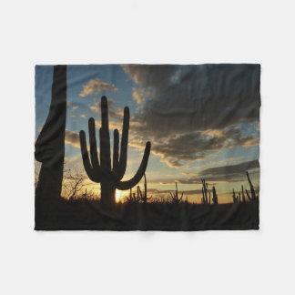 Saguaro Sunset II Arizona Desert Landscape Fleece Blanket