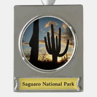 Saguaro Sunset II Arizona Desert Landscape Silver Plated Banner Ornament