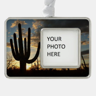 Saguaro Sunset II Arizona Desert Landscape Silver Plated Framed Ornament