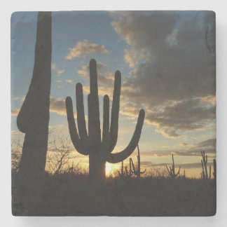 Saguaro Sunset II Arizona Desert Landscape Stone Coaster