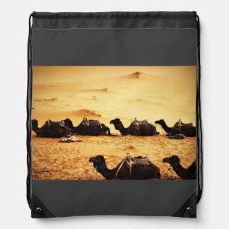 Sahara Themed, Lineup Of Camels In Golden Sand Sah Drawstring Backpacks