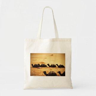 Sahara Themed, Lineup Of Camels In Golden Sand Sah Budget Tote Bag