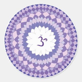 Sahasrara chakra mandala classic round sticker