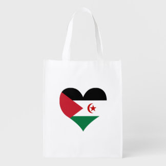 Sahrawi Flag on a cloudy background Grocery Bags