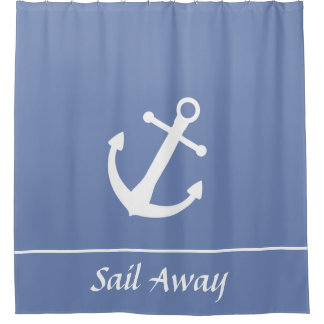 Sail Away Blue and White Shower Curtain