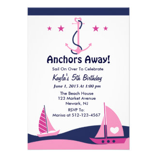 Sail Away Girl Invitation