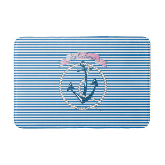 """""""Sail Away"""" Nautical Anchor, Rope, Stripes,Modern Bath Mat"""