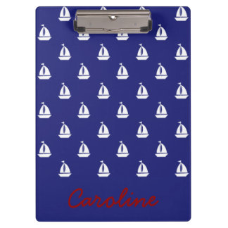 Sail Away On Blue Nautical Personalized Clipboard