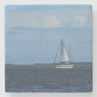 Sail Away Painterly Stone Coaster