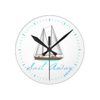 Sail Away Round Clock