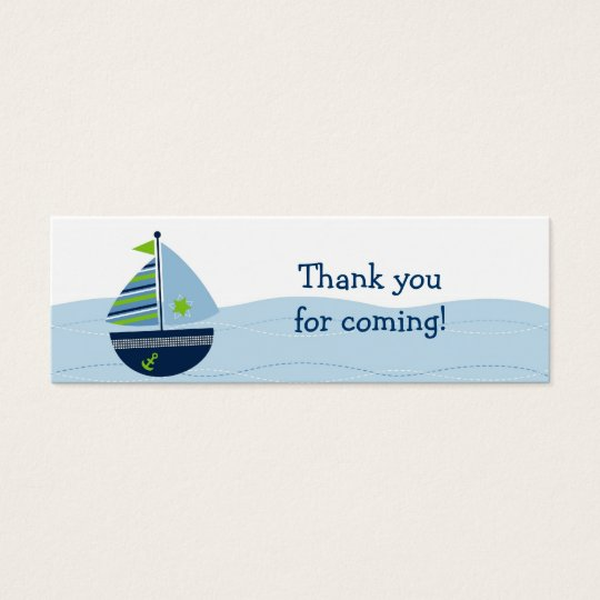 Sail Away Sailboat Nautical Party Favour Gift Tags Mini Business Card