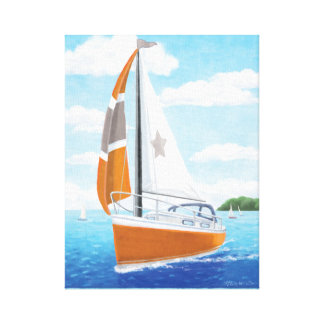 Sail Away Sailboat: Orange and Grey Canvas Print