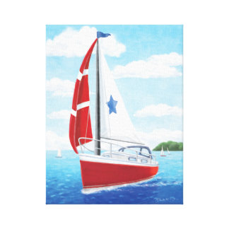 Sail Away Sailboat: Red, White & Blue Canvas Print