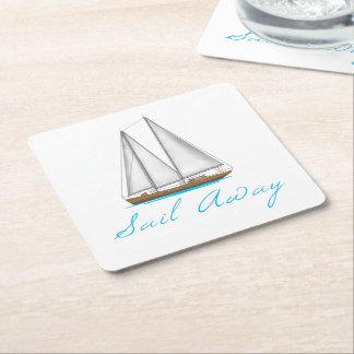 Sail Away Square Paper Coaster