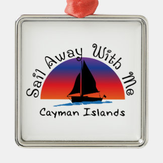 Sail away with me Cayman Islands. Silver-Colored Square Decoration
