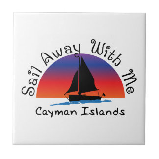Sail away with me Cayman Islands. Small Square Tile