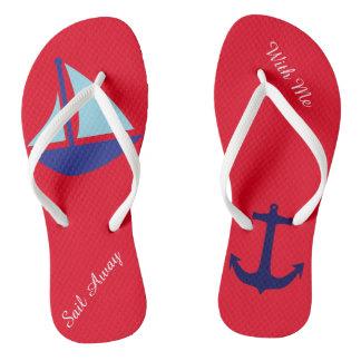 Sail Away with Me Nautical Flip Flops