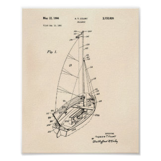 Sail Boat 1964 Patent Art Old Peper Poster