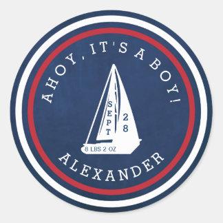 Sail Boat Baby Boy Stickers Chalk Navy Blue