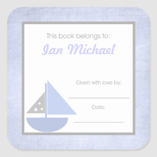 Sail boat Book Plate BOOKPLATE Blue Gray Boy Square Sticker