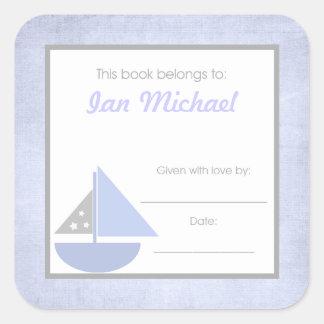 Sail boat Book Plate BOOKPLATE Blue Gray Boy Square Sticker