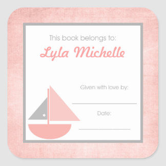 Sail boat Book Plate BOOKPLATE Pink Gray Girl Square Sticker