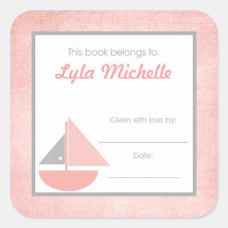 Sail boat Book Plate BOOKPLATE Pink Gray Girl Square Sticker