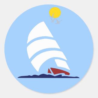 Sail Boat Classic Round Sticker