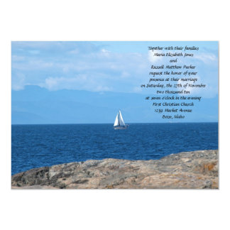 Sail Boat in Deep Blue Water Wedding 13 Cm X 18 Cm Invitation Card