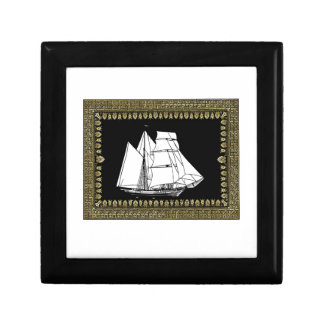 sail boat in the water small square gift box