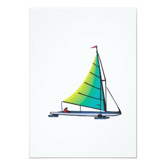 Sail Boat 13 Cm X 18 Cm Invitation Card