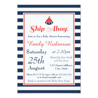 Sail Boat Nautical Baby Shower Invitation - Boy