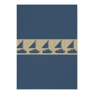 Sail Boat Navy Blue Stripes Baby Shower 13 Cm X 18 Cm Invitation Card