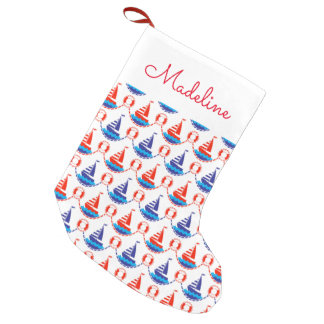 Sail Boat Pattern | Add Your Name Small Christmas Stocking