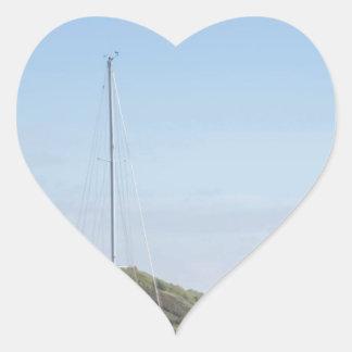 Sail boat heart sticker