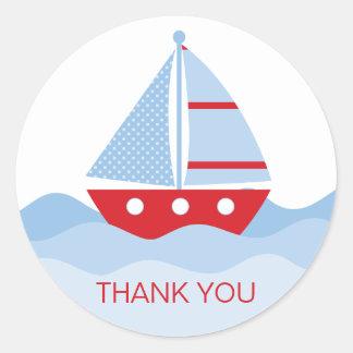 Sail Boat Thank You Round Sticker