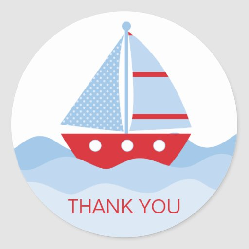 Sail Boat Thank You Stickers