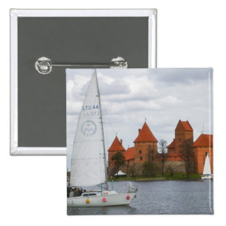 Sail boat with Island Castle by Lake Galve, 15 Cm Square Badge